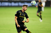 CARSON, CA - SEPTEMBER 06: Tristan Blackmon #27 of the LAFC heads a ball during a game between Los Angeles FC and Los Angeles Galaxy at Dignity Health Sports Park on September 06, 2020 in Carson, California.