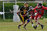 GER - Hannover, Germany, May 30: During the Men Lacrosse Playoffs 2015 match between HTHC Hamburg (black) and DHC Hannover (red) on May 30, 2015 at Deutscher Hockey-Club Hannover e.V. in Hannover, Germany. Final score 17:2. (Photo by Dirk Markgraf / www.265-images.com) *** Local caption *** Adam Eakins #8 of HTHC Hamburg, Philipp Demmer #4 of DHC Hannover