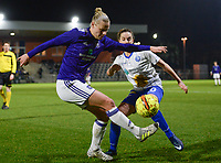 20180126 - OOSTAKKER , BELGIUM : Anderlecht's Ella Van Kerkhoven (left) pictured in a duel with Gent's Chloe Vande Velde (r)  during the quarter final of Belgian cup 2018 , a womensoccer game between KAA Gent Ladies and RSC Anderlecht , at the PGB stadion in Oostakker , friday 27 th January 2018 . PHOTO SPORTPIX.BE   DAVID CATRY