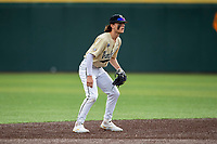 Vanderbilt Commodores shortstop Carter Young (9) on defense against the Tennessee Volunteers on Robert M. Lindsay Field at Lindsey Nelson Stadium on April 17, 2021, in Knoxville, Tennessee. (Danny Parker/Four Seam Images)