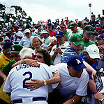 Since 1948 the Los Angeles Dodgers have held their spring training in Vero Beach, Florida. On Monday March 17th, the Dodgers played their last spring training game at Holman Field aka Dodgertown. Tommy Lasorda managed the game. He was honored before and after the game. Carl Erskine a former Brooklyn Dodger played the harmonica for the National Anthem. He pitched a no hitter in the 1950's. Fans packed the stadium to see the Dodgers one last time.