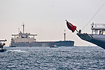 Oil, super tanker, Bosporus Strait, Istanbul, Turkey, one of the world's busiest waterways, Ship traffic,