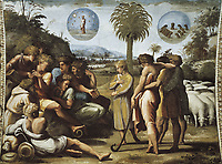 Raphael (1483-1520). Joseph Explaining His Dreams to his Brothers. 1518-1519. VATICAN CITY. Vatican Palaces. Decoration of the
