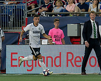 FOXBOROUGH, MA - JUNE 27: Brenden Aaronson #22 dribbles at midfield during a game between Philadelphia Union and New England Revolution at Gillette Stadium on June 27, 2019 in Foxborough, Massachusetts.