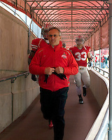 November 22, 2008. Ohio State head coach Jim Tressel heads out to the field for the start of the second half. The Ohio State Buckeyes defeated the Michigan Wolverines 42-7 on November 22, 2008 at Ohio Stadium, Columbus, Ohio.
