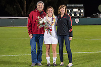 STANFORD, CA - October 21, 2012: Annie Case with her family during the Senior Day celebration after the Stanford vs Washington women's soccer match in Stanford, California.  Stanford won 3-0.