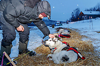 Peter Fleck pets his wheel dog LJ in the early morning hours at the ghost-town checkpoint of Iditarod on Saturday, March 10th during the 2018 Iditarod Sled Dog Race -- Alaska<br /> <br /> Photo by Jeff Schultz/SchultzPhoto.com  (C) 2018  ALL RIGHTS RESERVED