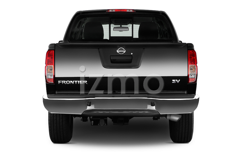 Straight rear view of 2016 Nissan Frontier SV 4 Door Pick-up Rear View  stock images