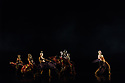 """London, UK. 07.02.2019. Sadler's Wells presents """"Sadler's Wells Sampled"""". A regular fixture at Sadler's Wells since 2007, """"Sadler's Wells Sampled"""" showcases a wide variety of dance, from ballet to waacking, and contemporary dance to classical Indian dance. Appearing on both evenings, an eclectic line-up of renowned performers and dance companies comprises Mavin Khoo, Richard Alston Dance Company, Uchenna Dance, BirdGang, Patricia Guerrero, Semperoper Ballett and Rambert2. Picture shows: Uchenna Dance in """"Head Wwrap Diaries"""". The dancers are: Kloe Dean, Daniella Selwood, Natalie Bailey, Tina Omotosho, Shanelle Clemenson, Nicole Nyemi-Tei. Photograph © Jane Hobson."""