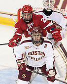 Jedd Soleway (Wisconsin - 22), Isaac MacLeod (BC - 7) - The Boston College Eagles defeated the visiting University of Wisconsin Badgers 9-2 on Friday, October 18, 2013, at Kelley Rink in Conte Forum in Chestnut Hill, Massachusetts.