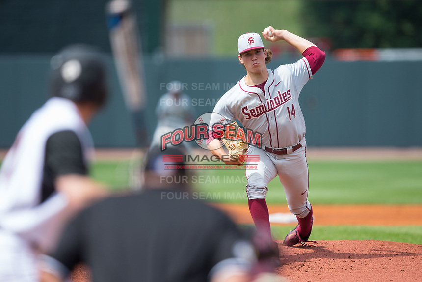 Florida State Seminoles starting pitcher Tyler Holton (14) delivers a pitch to the plate against the Louisville Cardinals in Game Eleven of the 2017 ACC Baseball Championship at Louisville Slugger Field on May 26, 2017 in Louisville, Kentucky.  The Seminoles defeated the Cardinals 6-2 to advance to the semi-finals.  (Brian Westerholt/Four Seam Images)