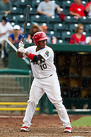 Audry Perez (10) of the Springfield Cardinals at bat during a game against the Northwest Arkansas Naturals at Hammons Field on July 31, 2011 in Springfield, Missouri. Northwest Arkansas defeated Springfield 9-1. (David Welker / Four Seam Images)