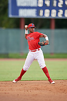 GCL Phillies West third baseman Edgar Made (23) throws to first base during a Gulf Coast League game against the GCL Yankees East on August 3, 2019 at the Carpenter Complex in Clearwater, Florida.  The GCL Phillies West defeated the GCL Yankees East 15-7 in a completion of a game that was originally started on July 26, 2019.  (Mike Janes/Four Seam Images)