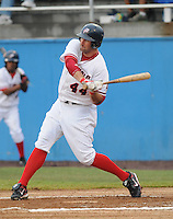 July 17, 2009: Infielder Tim Pahuta (44) of the Potomac Nationals, Carolina League affiliate of the Washington Nationals, in a game against the Kinston Indians at G. Richard Pfitzner Stadium in Woodbridge, Va. Photo by: Tom Priddy/Four Seam Images