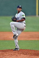 Pulaski Yankees pitcher Abel Duarte (30) delivers a pitch during a game against the Elizabethton Twins at Joe O'Brien Field on June 27, 2016 in Elizabethton, Tennessee. The Yankees defeated the Twins 6-4. (Tony Farlow/Four Seam Images)