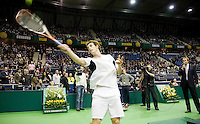 12-2-09,Rotterdam,ABNAMROWTT,  Andy Murray slaat drie ballen in het publiek