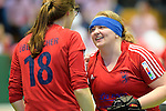 GER - Luebeck, Germany, February 06: After the 1. Bundesliga Damen indoor hockey semi final match at the Final 4 between Berliner HC (blue) and Duesseldorfer HC (red) on February 6, 2016 at Hansehalle Luebeck in Luebeck, Germany. Final score 1-3 (HT 0-1). (Photo by Dirk Markgraf / www.265-images.com) *** Local caption *** (r) Sabine Markert #6 of Duesseldorfer HC