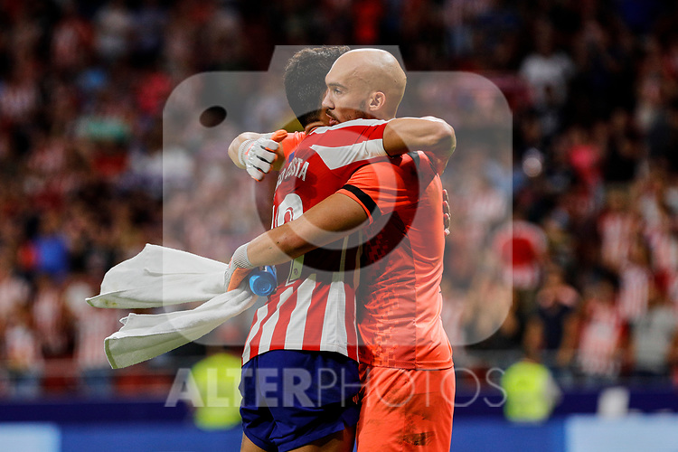 Diego Costa of Atletico de Madrid and Marko Dmitrovic of SD Eibar during La Liga match between Atletico de Madrid and SD Eibar at Wanda Metropolitano Stadium in Madrid, Spain.September 01, 2019. (ALTERPHOTOS/A. Perez Meca)
