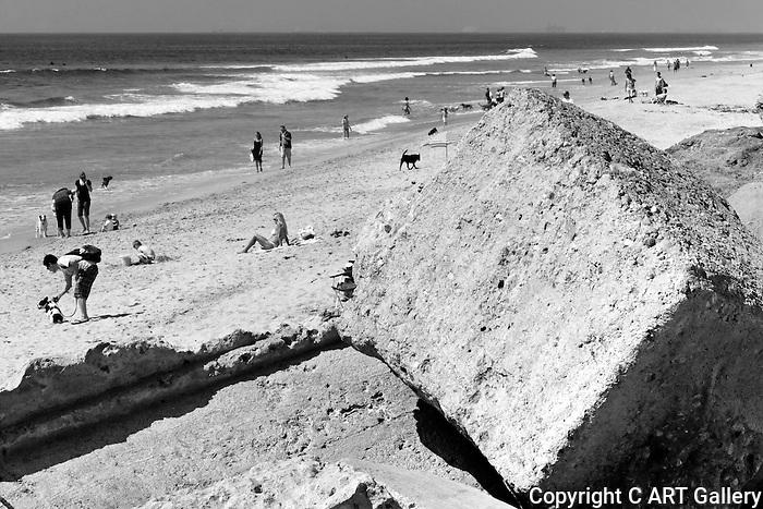 Dog Beach 1, Bolsa Chica,Huntington Beach,PCH,sunbathers,surfers,waves,ocean waves,SoCal,youth,seaside,beach,dog,sand,rock,concrete,block,ocean,water,Southern California,environment,beach scene.