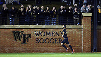 WINSTON-SALEM, NC - DECEMBER 01: Bruno Lapa #10 of Wake Forest University celebrates scoring a goal during a game between Michigan and Wake Forest at W. Dennie Spry Stadium on December 01, 2019 in Winston-Salem, North Carolina.