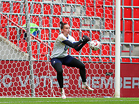 goalkeeper Nicky Evrard (1) of AA Gent does a save during the warm up before a female soccer game between Standard Femina de Liege and KAA Gent Ladies on the second match day of the 2021 - 2022 season of Belgian Scooore Womens Super League , Saturday 28 th of August 2021  in Liege, Belgium . PHOTO SPORTPIX | SEVIL OKTEM