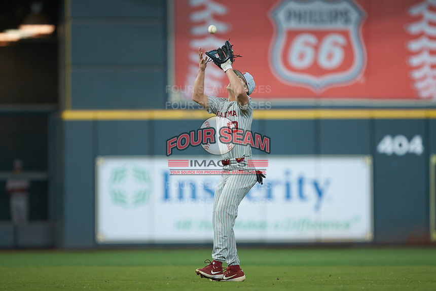 Oklahoma Sooners second baseman Logan Kohler (13) catches a pop fly during the game against the LSU Tigers in game seven of the 2020 Shriners Hospitals for Children College Classic at Minute Maid Park on March 1, 2020 in Houston, Texas. The Sooners defeated the Tigers 1-0. (Brian Westerholt/Four Seam Images)