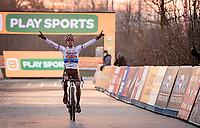 European CX Champion Eli Iserbyt (BEL/Pauwels Sauzen-Bingoal) winning once again<br /> <br /> Superprestige Boom (BEL) 2020<br /> Men's Race<br /> <br /> ©kramon