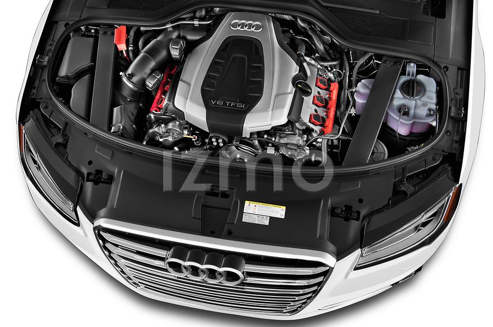 Car stock 2015 Audi A8 4.0T NWB quattro Tiptronic 5 Door Sedan engine high angle detail view