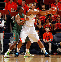 CHARLOTTESVILLE, VA- JANUARY 7: DeQuan Jones #5 of the Miami Hurricanes defends Mike Scott #23 of the Virginia Cavaliers during the game on January 7, 2012 at the John Paul Jones Arena in Charlottesville, Virginia. Virginia defeated Miami 52-51. (Photo by Andrew Shurtleff/Getty Images) *** Local Caption *** Mike Scott;DeQuan Jones