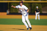 Trip Schultz #22 of the Minnesota Golden Gophers takes his lead off of first base against the Towson Tigers at Gene Hooks Field on February 26, 2011 in Winston-Salem, North Carolina.  The Gophers defeated the Tigers 6-4.  Photo by Brian Westerholt / Sports On Film