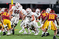 LOS ANGELES, CA - SEPTEMBER 11: Branson Bragg, Jake Hornibrook during a game between University of Southern California and Stanford Football at Los Angeles Memorial Coliseum on September 11, 2021 in Los Angeles, California.