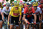 The peloton including Yellow Jersey Giulio Ciccone (ITA) Trek-Segafredo, Vincenzo Nibali (ITA) Bahrain-Merida and Richie Porte (AUS) Trek-Segafredo in action during Stage 8 of the 2019 Tour de France running 200km from Macon to Saint-Etienne, France. 13th July 2019.<br /> Picture: ASO/Alex Broadway   Cyclefile<br /> All photos usage must carry mandatory copyright credit (© Cyclefile   ASO/Alex Broadway)