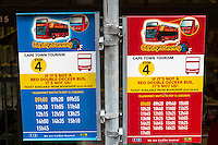 South Africa, Cape Town.  Sightseeing Bus Schedules.