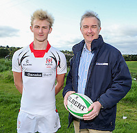 Ulster Schools U18 | Saturday 5th September 2015<br /> <br /> Ulster Schools U18 Squad 2015-2016<br /> Sullivan Upper player Chris Jordan with Danske Bank representative Mark Beattie at a recent training session at Newforge Country Club in Belfast. Photo : John Dickson - DICKSONDIGITAL