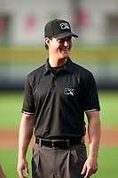 Umpire Ben Rosen before a Carolina League game between the Down East Wood Ducks and Fayetteville Woodpeckers on August 13, 2019 at SEGRA Stadium in Fayetteville, North Carolina.  Fayetteville defeated Down East 5-3.  (Mike Janes/Four Seam Images)