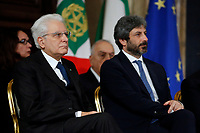 President of the Republic Sergio Mattarella and President of the lower Chamber Roberto Fico <br /> Rome December 19th 2018. Quirinale. Traditional exchange of Christmas wishes between the President of the Republic and the institutions.<br /> Foto Samantha Zucchi Insidefoto
