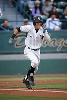 Jarren Duran (4) of the Long Beach State Dirtbags  runs to first base during a game against the TCU Horned Toads at Blair Field on March 14, 2017 in Long Beach, California. Long Beach defeated TCU, 7-0. (Larry Goren/Four Seam Images)
