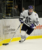29 December 2007: Holy Cross Crusaders' defenseman Frank O'Grady, a Senior from Kimberley, British Columbia, in action against the University of Vermont Catamounts at Gutterson Fieldhouse in Burlington, Vermont. The Catamounts rallied in the final seconds of play to tie the game 1-1. After overtime, although the official result remained a tie game, the Cats moved up to the championship round by winning a sudden death shootout in the second game of the Sheraton/TD Banknorth Catamount Cup Tournament...Mandatory Photo Credit: Ed Wolfstein Photo