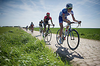 Yoann Offredo (FRA/FDJ.fr) flying over the cobbles of sector 26: Viesly à Quiévy (1.8km)<br /> <br /> 113th Paris-Roubaix 2015