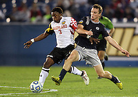 HOOVER, AL - DECEMBER 07, 2012:  Christiano Francois (3) of the University of Maryland moves away from Joey Dillon (4) of Georgetown University during an NCAA 2012 Men's College Cup semi-final match, at Regions Park, in Hoover , AL, on Friday, December 07, 2012. The game ended in a 4-4 tie, Georgetown won on penalty kicks after overtime.