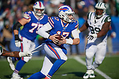 Buffalo Bills quarterback Josh Allen (17) scrambles under pressure during an NFL football game against the New York Jets, Sunday, December 9, 2018, in Orchard Park, N.Y.  (Mike Janes Photography)