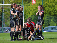 OHL's medic Dorien Peeter attends injured Hannah Eurlings (9) of OHL  after her clash with goalkeeper Lise Musique (1) of Standard during a female soccer game between Standard Femina de Liege and Oud Heverlee Leuven on the 10th and last matchday in play off 1 of the 2020 - 2021 season of Belgian Scooore Womens Super League , saturday 29 th of May 2021  in Angleur , Belgium . PHOTO SPORTPIX.BE   SPP   SEVIL OKTEM