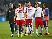 19.11.2017, Football 1. Bundesliga 2017/2018, 12.  match day, FC Schalke 04 - Hamburger SV, in VELTINS-Arena Gelsenkirchen.  Rick van Drongelen (Hamburg) , Kyriakos Papadopoulos (Hamburg) , Gideon Jung (Hamburg) , Mergim Mavraj (Hamburg) , Bobby Wood (Hamburg) and Filip Kostic (Hamburg) enttaeuscht  *** Local Caption *** © pixathlon<br /> <br /> +++ NED + SUI out !!! +++<br /> Contact: +49-40-22 63 02 60 , info@pixathlon.de