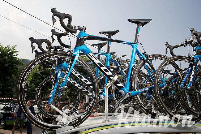 Team Orica-GreenEDGE's Scott Foil bikes at the ready<br /> <br /> Giro d'Italia 2015<br /> stage 19: Gravellona Toce - Cervinia (236km)
