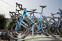 Team Orica-GreenEDGE's Scott Foil bikes at the ready<br /> <br /> Giro d'Italia 2015<br /> stage 19: Gravellona Toce - Cervinia (236km)
