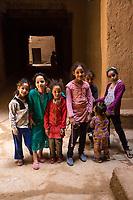 Ksar Elkhorbat, Morocco.  Young Berber Girls, Pre-teenage.