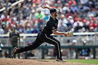 Louisville Cardinals pitcher Michael Kirian (33) delivers a pitch to the plate during Game 3 of the NCAA College World Series against the Vanderbilt Commodores on June 16, 2019 at TD Ameritrade Park in Omaha, Nebraska. Vanderbilt defeated Louisville 3-1. (Andrew Woolley/Four Seam Images)