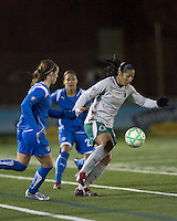 St Louis Athletica midfielder Daniela Alves Lima (10) moves forward. The Boston Breakers defeated Saint Louis Athletica, 2-0, at Harvard Stadium on April 11, 2009.
