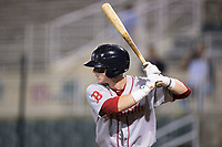 Brett Netzer (12) of the Greenville Drive at bat against the Kannapolis Intimidators at Kannapolis Intimidators Stadium on August 7, 2017 in Kannapolis, North Carolina.  The Drive defeated the Intimidators 6-1.  (Brian Westerholt/Four Seam Images)