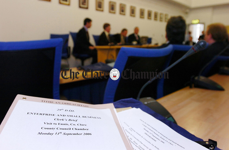 A Joint Oireachtas Committee on Enterprise and Small Business held at the Clare Council Chambers Ennis.Pic Arthur Ellis.